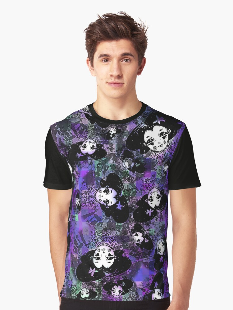 Gothic Doll in Outer Space - Purple Colorway Graphic T-Shirt Front