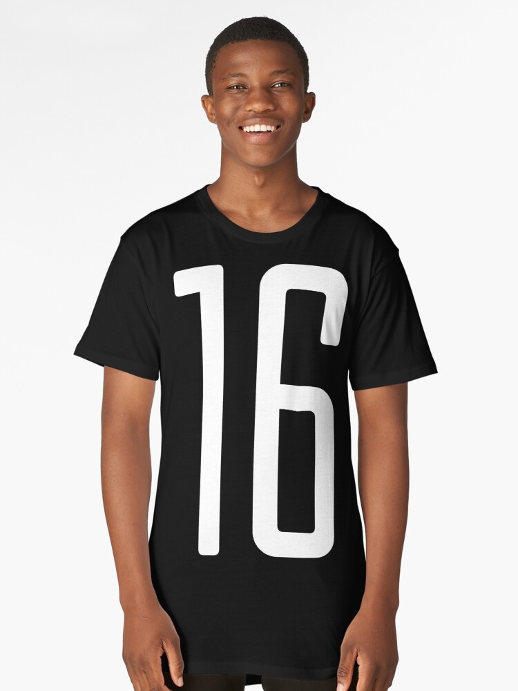Tall white number 16 Long T-Shirt Front