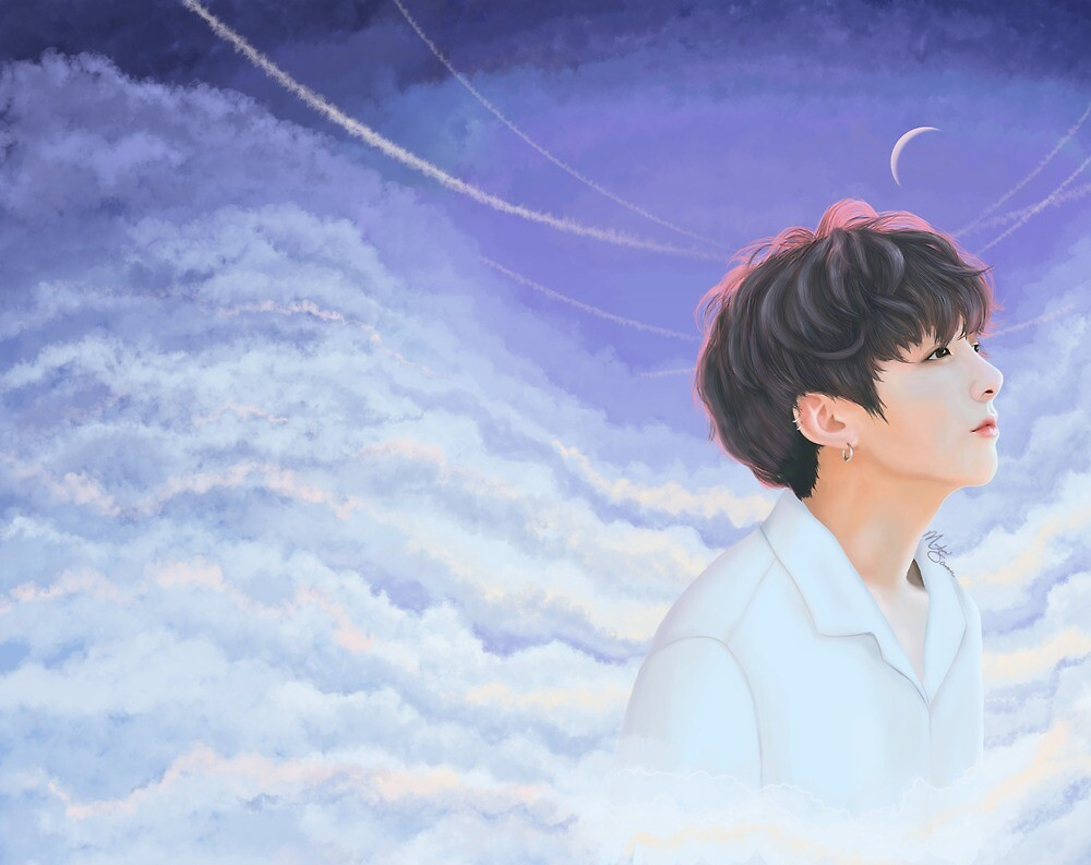 Jungkook cloudy sky fanart by anartycus