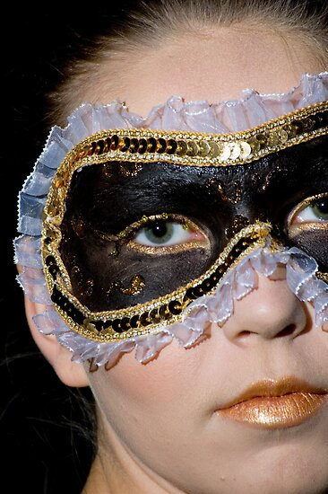 young teenage female model with a black make up mask around her eyes by PhotoStock-Isra