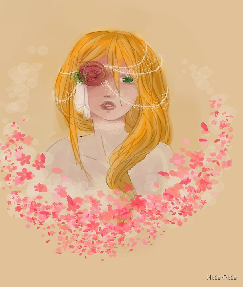 Girl tucked in roses by Nixie-Pixie