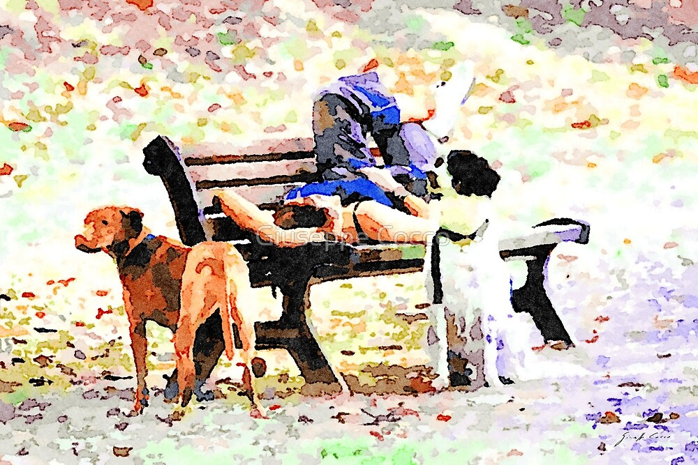 Rome: girl resting on the bench at the park with two dogs by Giuseppe Cocco