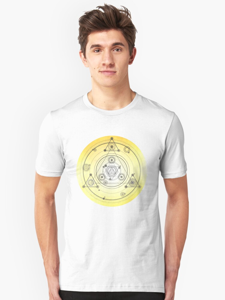 Yellow geometric design, sacred geometry art Unisex T-Shirt Front