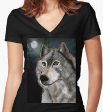 Timber Woff Women's Fitted V-Neck T-Shirt