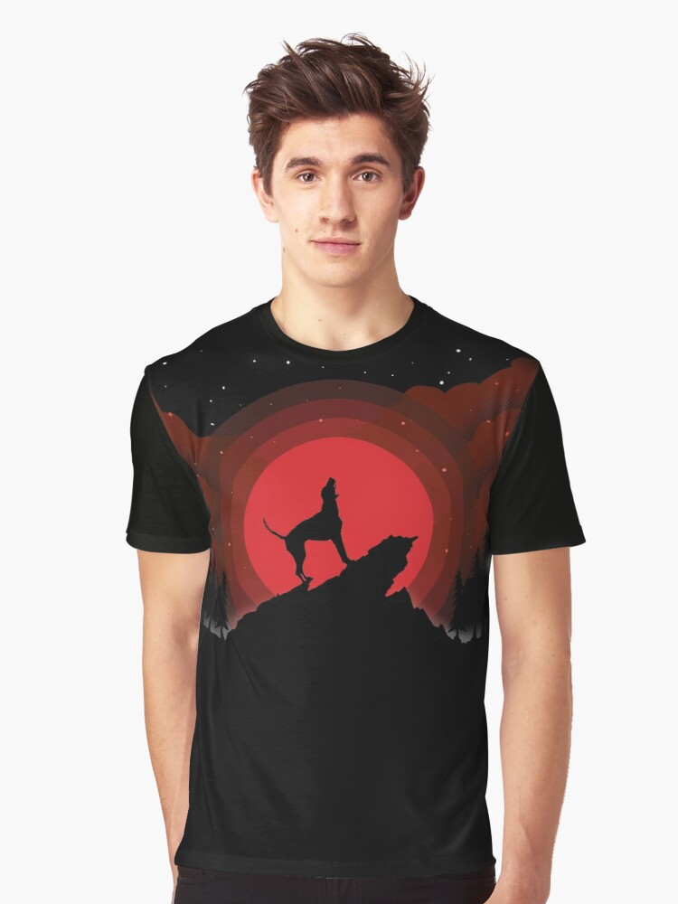 American Foxhound Dog Howls Blood Moon Lunar Eclipse Graphic T-Shirt Front