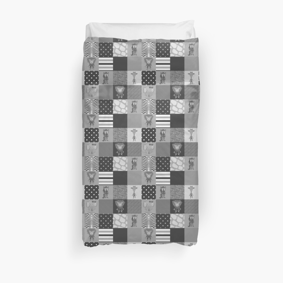 Jungle Friends Shades of Grey Cheater Quilt by podartist