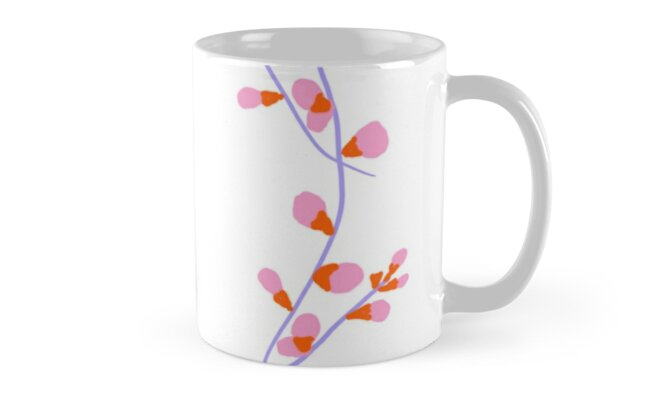 Pink and orange pussy willows simple floral design minimalist by pegdoesart