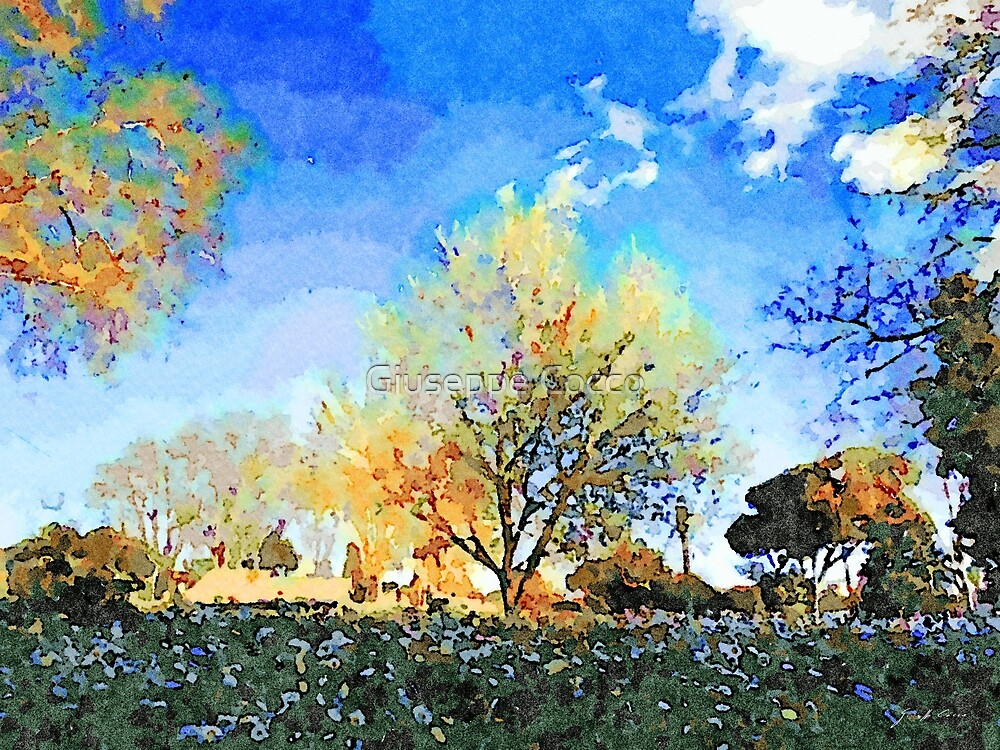 Rome: park with meadow of daisies and autumn trees by Giuseppe Cocco