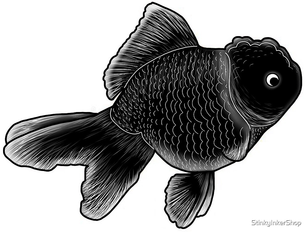 Black fishy- original art by StinkyInkerShop