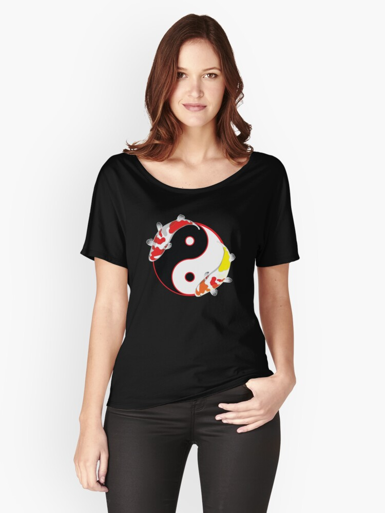 Koi Yin Yang Universe Women's Relaxed Fit T-Shirt Front