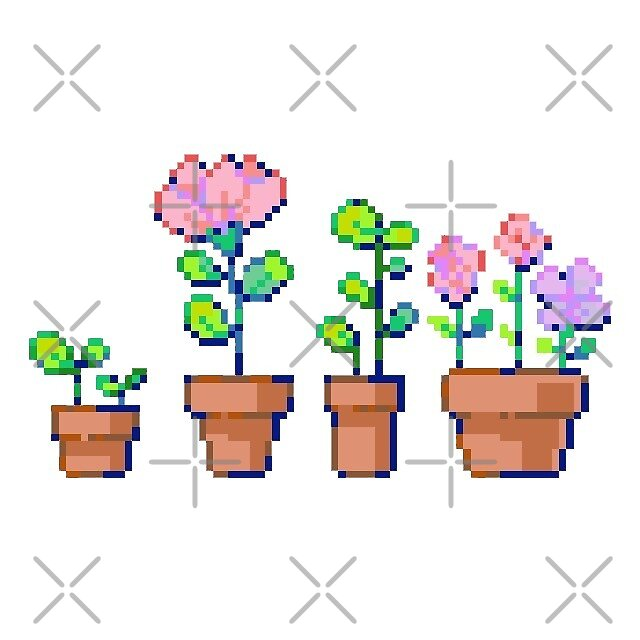 four flower pots by stickersnstuff