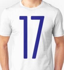 Tall blue number 17 Unisex T-Shirt