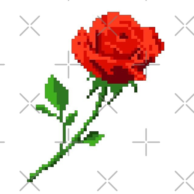 pixel red rose by stickersnstuff