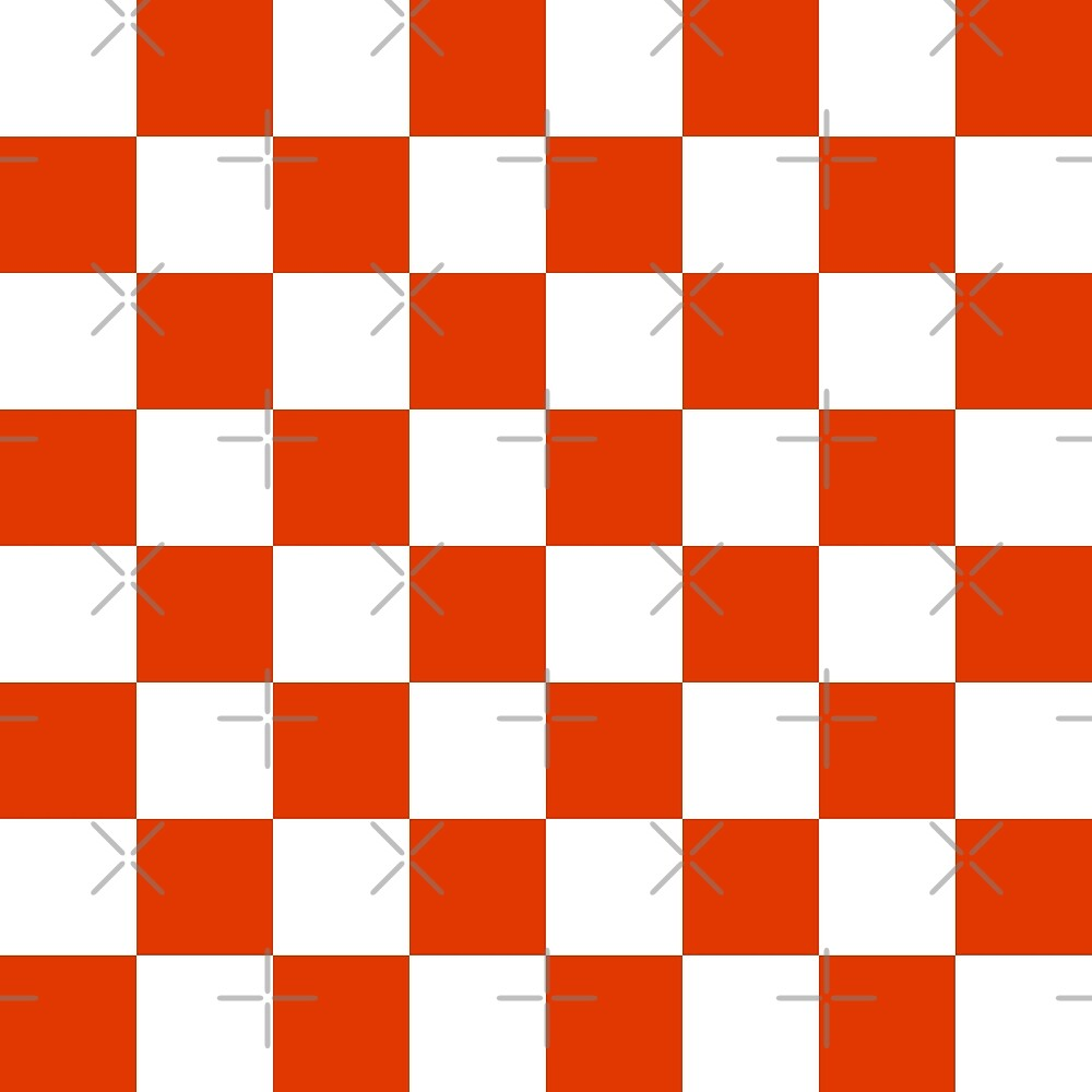 Chequered seamless pattern in red and white. Checkerboard background by asnia