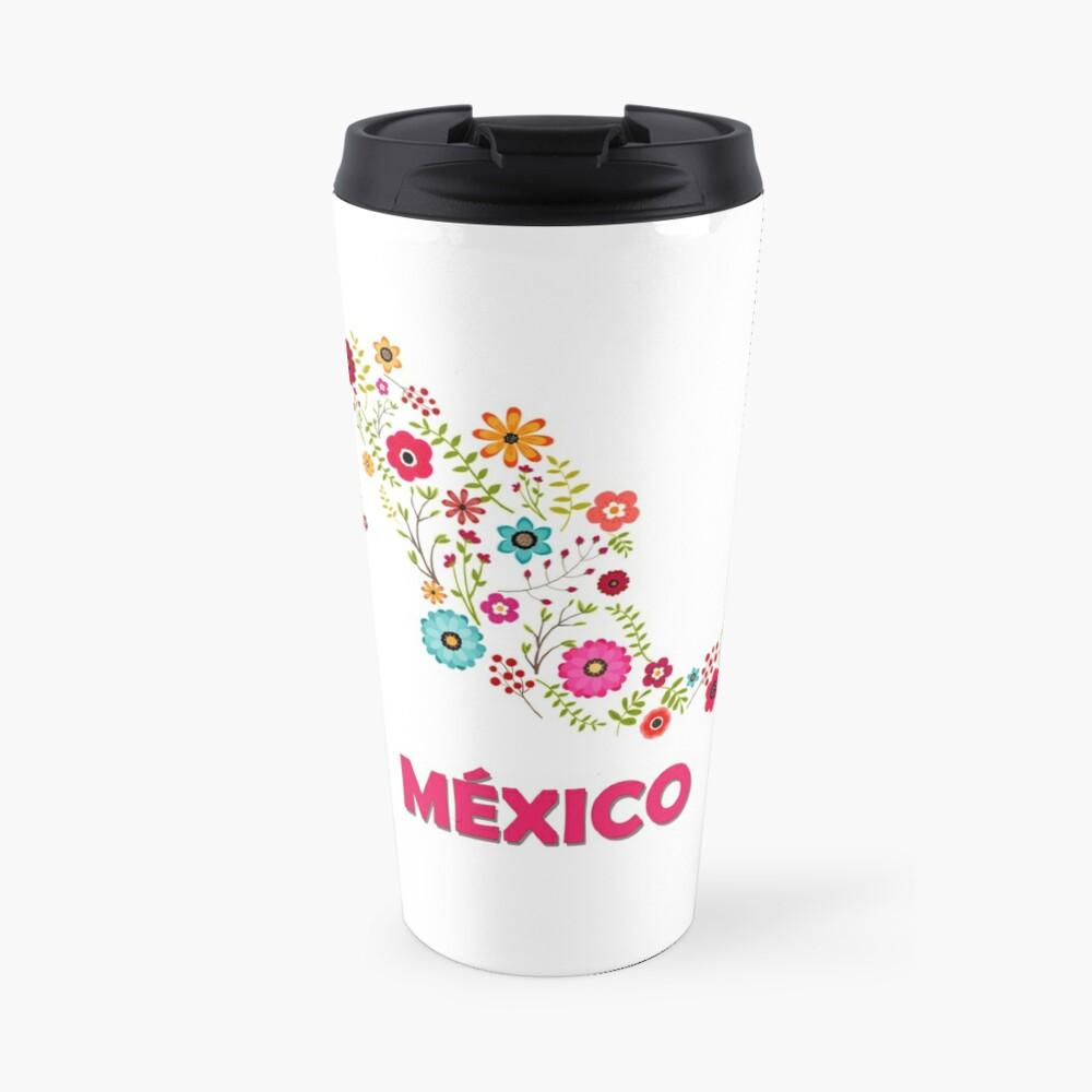 Mexico map flowers Taza de viaje