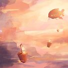 Airship in the clouds by Lizziefij