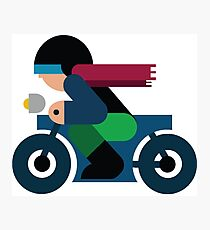 Guy riding a Motorcycle Photographic Print