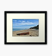 World War Two pillbox on the beach, Norfolk Framed Print