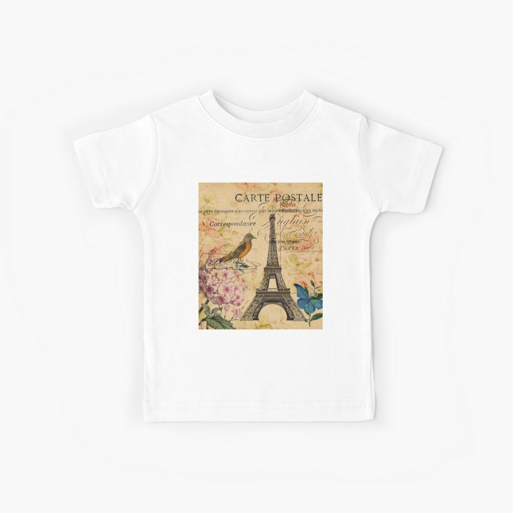 Vogel-Schmetterlingsmode des Vintagen Eiffelturms Blumen Kinder T-Shirt
