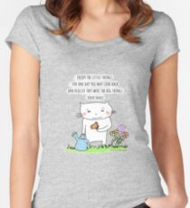 Enjoy the little things... life quote / cat doodle Women's Fitted Scoop T-Shirt