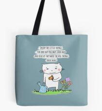 Enjoy the little things... life quote / cat doodle Tote Bag
