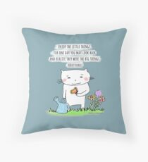 Enjoy the little things... life quote / cat doodle Throw Pillow