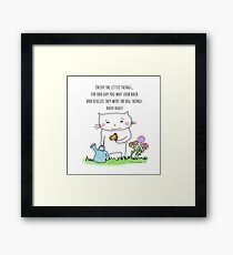 Enjoy the little things... life quote / cat doodle Framed Print
