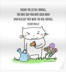 Enjoy the little things... life quote / cat doodle Poster
