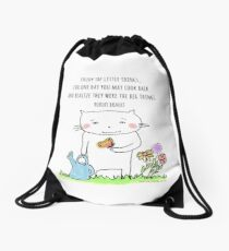 Enjoy the little things... life quote / cat doodle Drawstring Bag