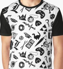 Anime Life Pattern Graphic T-Shirt