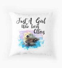 Aquarell Sea Otter - nur ein Mädchen, das Otter liebt Dekokissen