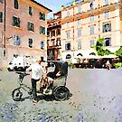 Rome: eco wheelchair risciò for turists in saint Mary in Trastevere square by Giuseppe Cocco