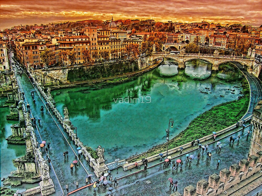 Rain in Rome. View from Castel Sant'Angelo. by vadim19