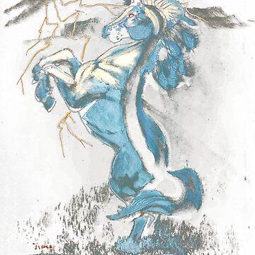Velvet Electric Unicorn Painting by shanghaijinks