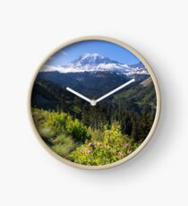 Scenic view of Mt Rainier in National Park WA State on a sunny day Clock