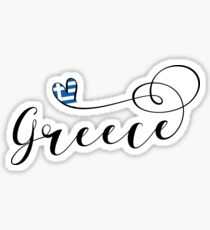 Greece Heart, Greek Flag, Hellenic Republic, I Love Greece Sticker
