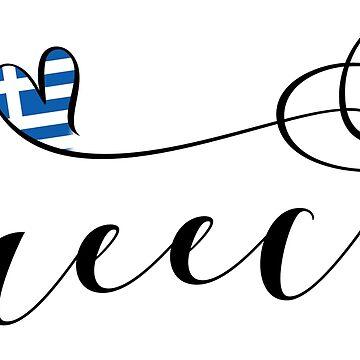 Greece Heart, Greek Flag, Hellenic Republic, I Love Greece by Celticana