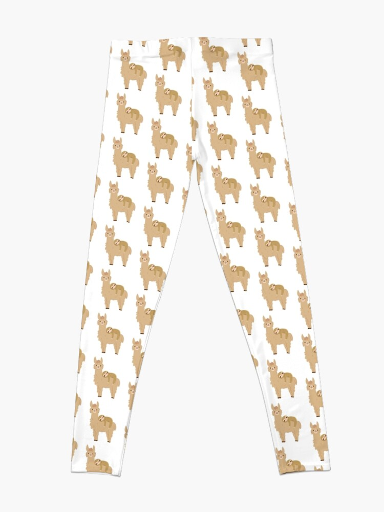 Alternate view of Adorable Sloth Relaxing on a Llama Leggings