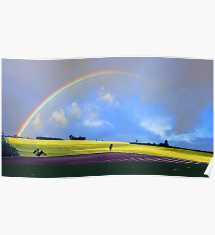 Rainbow Over The Fields  Poster