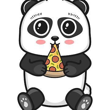 Cute Giant Panda Bear Eating Pepperoni Pizza Slice by BeasleyBytes