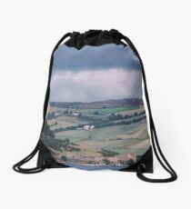 Passing by Urquhart Castle again, on Loch Ness Scotland 19840911 0009  Drawstring Bag
