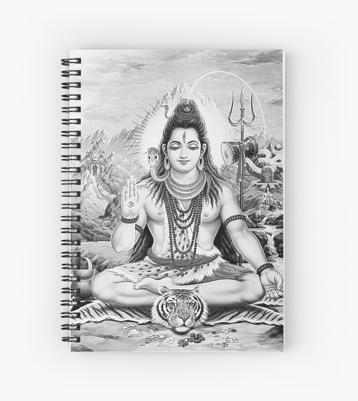 Lord Shiva Monochrome Sketch Spiral Notebook By Ianearthcore