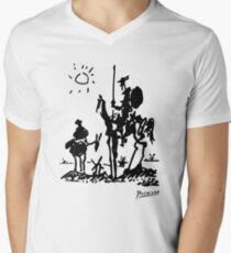 Pablo Picasso Don Quixote 1955 Artwork Shirt, Reproduction Men's V-Neck T-Shirt