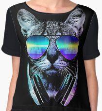Music Lover Cat Chiffon Top