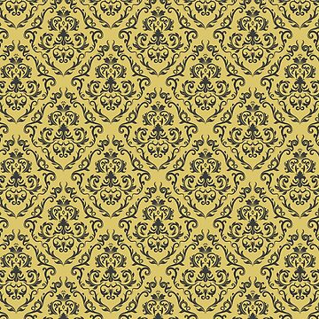 Mustard Gold Damask Pattern Floral Retro Design by studio-gj