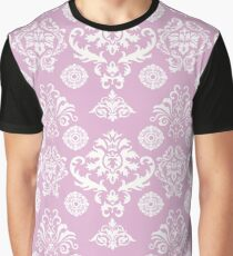 Pink and White Damask Pattern Graphic T-Shirt