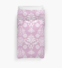 Pink and White Damask Pattern Duvet Cover