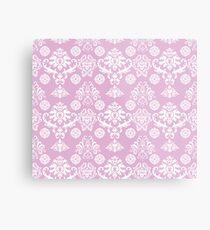 Pink and White Damask Pattern Metal Print