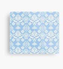 Blue and White Damask Pattern Metal Print