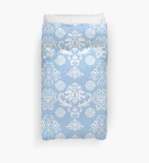 Blue and White Damask Pattern Duvet Cover